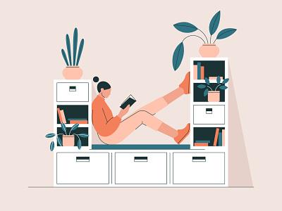 Book therapy vector art home reading book interior woman illustration adobe illustrator vector
