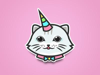 Unicat line art animal illustration sticker cat unicorn