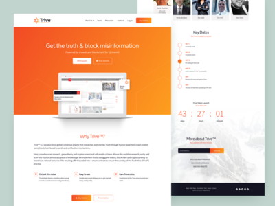 Trive Cryptocurrency landing page ui website block-chain truth coin bitcoin cryptocurrency trive