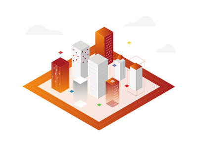 Packages and Servers isometric cloud gradient infrastructures servers packages building illustration