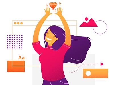 The Designer design tech women character ui sketch designer illustration