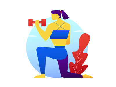 The Fitness Trainer gradient workout women exercise health fitness gym character illustration