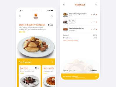 Pancake House mobile app mobile app pastry dessert ui order delivery food pancake house