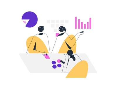 Graphs, Plots, and Chit-Charts meeting team character charts graph data visualization illustration