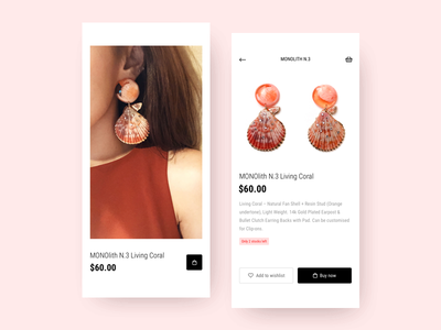 Shop Mobile coral jewelry earrings ecommerce app mobile ecommerce