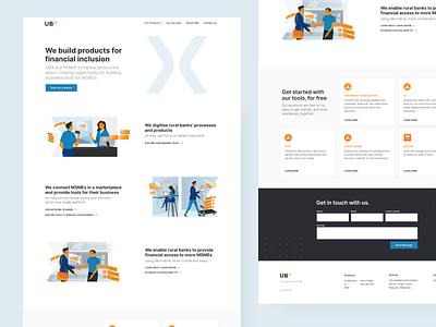 UBX Landing Website web design tech finance illustrations homepage ui landingpage