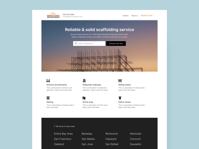 Scaffolding Landing Page marketing website hardware landing page ui website construction scaffolding