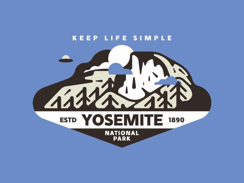 Yosemite National Park usa texture vector camping tree retro park nature mountain yosemite illutstration badge