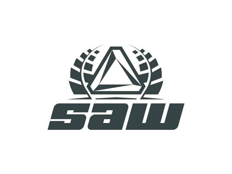 SAW typography type mark logo layout identity icon gaming esports design badge