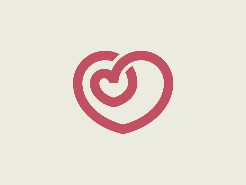 Two hearts logo illustration mark icon symbol red two heart