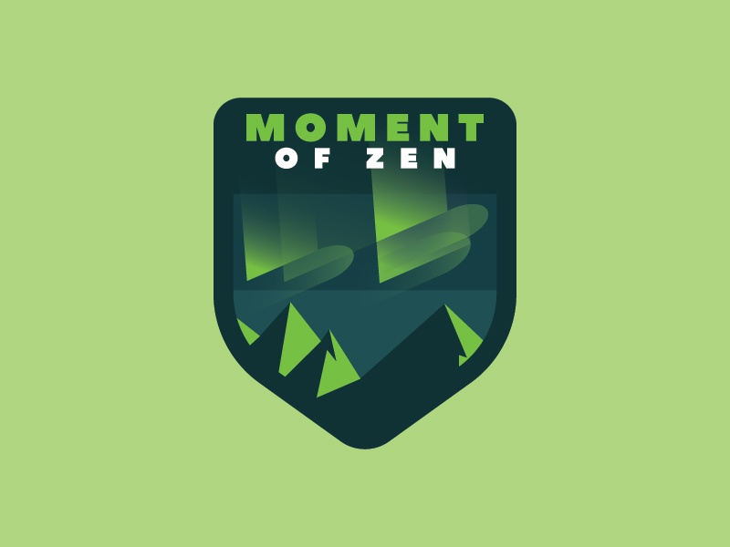 Moment of Zen typography identity green sticker badge logo magic night vector design illustration northern lights