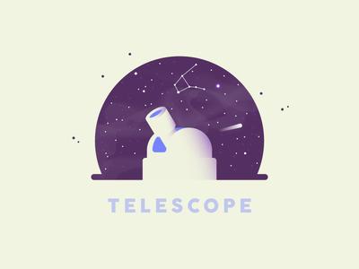 Telescope 🔭 purple sticker identity design graphic retro cute vector universe espace illustration telescope