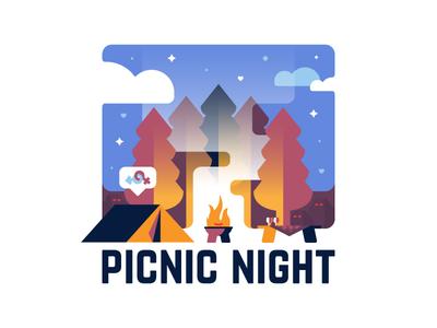 Picnic Night 🏕 typography identity camping sticker badge logo magic design illustration picnic night vector