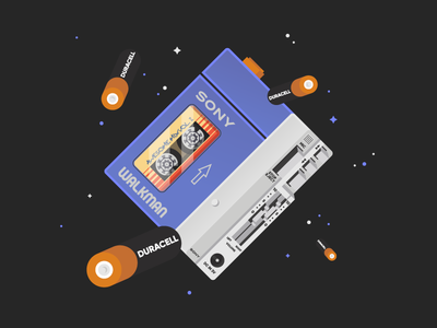 Awesome Mix Vol. 2 star-lord guardians of the galaxy sony walkman duracell illustration identity espace cute vector awesome mix