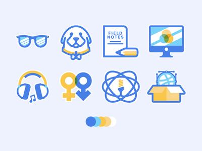 My Hobby Icons yellow blue hobby badge identity life logo vector cute illustration freelance icon