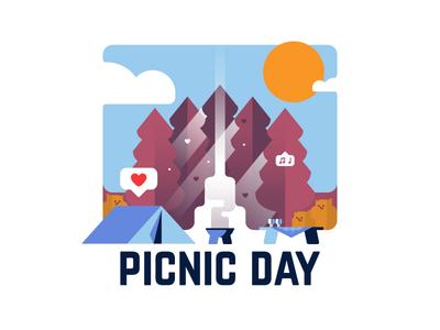 Picnic Day 🏕 vector night picnic illustration design magic logo badge sticker camping identity typography