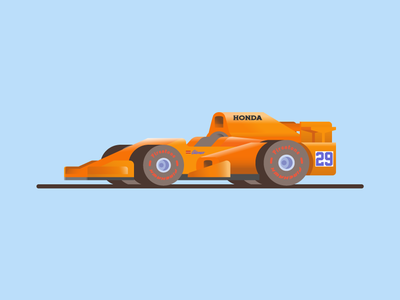 🏎💨 indy500 cute illustration vector f1 formula 1 color car animation orange honda
