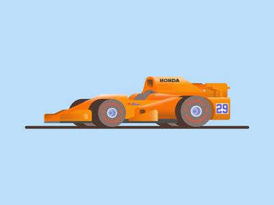 🏎💨 indy500 cute illustration vector f1 formula 1 color car animation orange honda