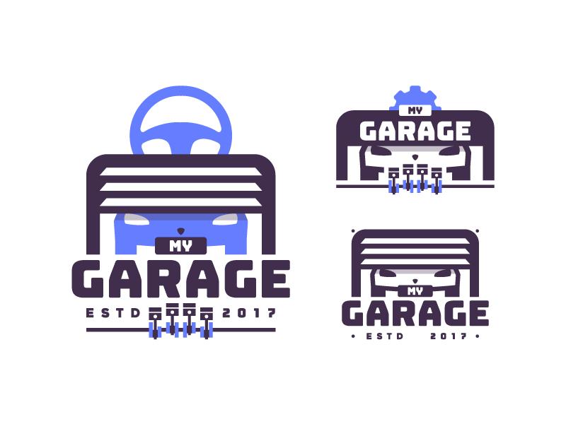 My Garage #1 company badge typography mechanic design identity illustrator illustration logo blue garage