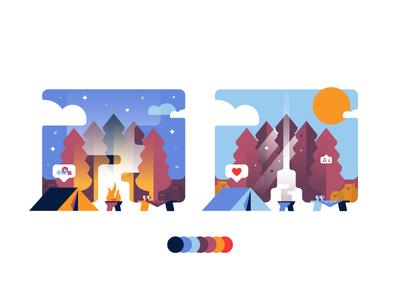 🌛 & 🌞 typography identity camping sticker badge logo magic design illustration picnic vector
