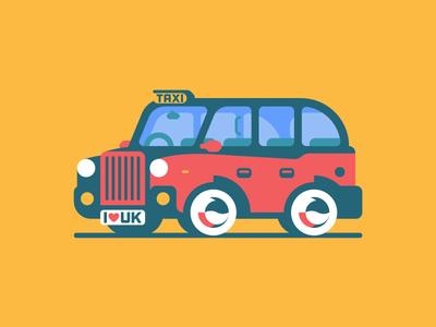 🇬🇧 retro car london sticker stickermule design taxi illustration playoff uk great britain