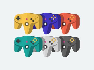N64 👾 game console vector identity icon illustration command nintendo color cute fun