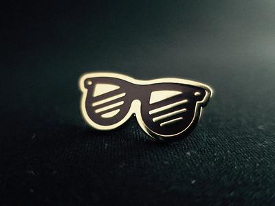 Glasses Pin 🕶 enamel pin pin ray ban glasses brown illustration gold icon swag logo line art