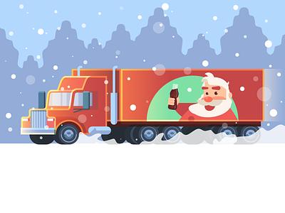 CocaCola Xmas 🎁 cocacola vector illustration xmas christmas cute snow animation santa claus outdoor forest coke