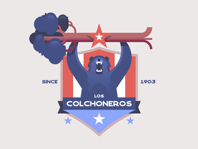 Atlético Madrid 🔴🔵 cute texture icon retro crest spain bear illustration soccer football logo badge