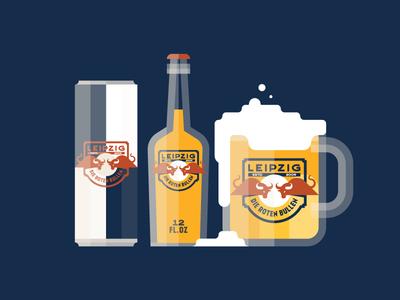 RB Leipzig badge logo football soccer illustration bull german crest retro beer texture red bull