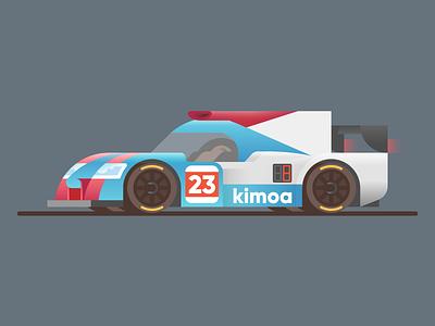 United Autosports LMP2 24 hours ligier united autosports animation car color vector illustration cute