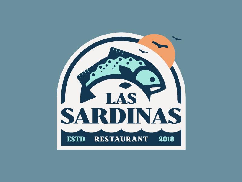 Las Sardinas 🐟 identity symbol texture retro typography illustration badge fish logo restaurant
