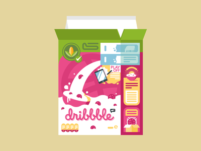 dribbble Cereal vector illustration pink stickermule sticker playoff dribbble cereal