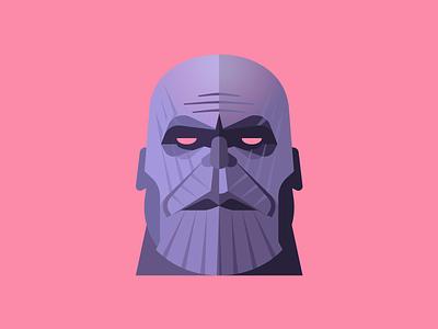 Thanos villain marvel avatar character vector illustration infinity war avengers thanos face