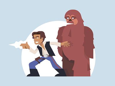 Solo & Chewie pew pew blaster fun chewbacca han solo star wars illustration