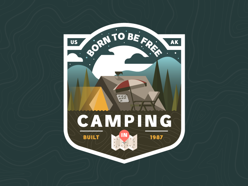 I'm lost ⛺️ #2 illustration camp camping badge trekking nature outdoors plants trees vintage