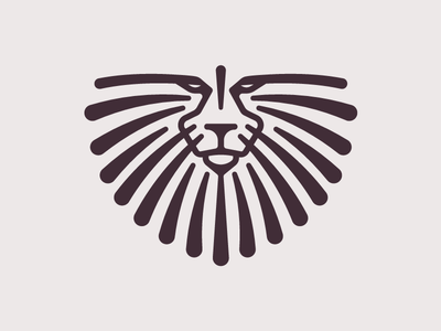 African Lion design identity brown icon logo lines lion african symbol mark