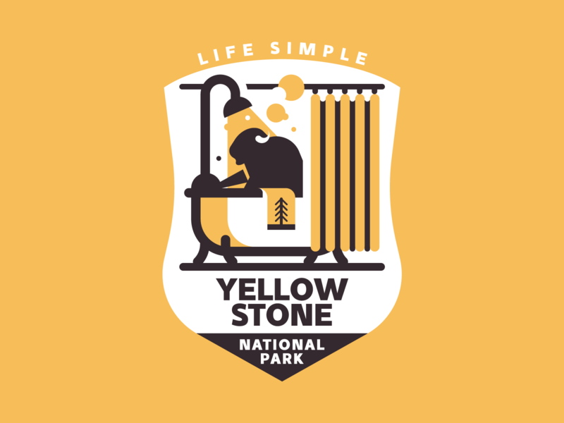 Yellowstone National Park bison yellow trekking texture vector tree retro park nature mountain yellowstone illutstration badge