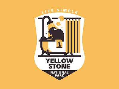 Yellowstone National Park bison yellow trekking texture vector tree retro park nature mountain yellowstone illutstration badge
