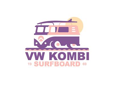 VW Kombi surf typography layout retro identity mark icon summer vw volkswagen beach badge logo