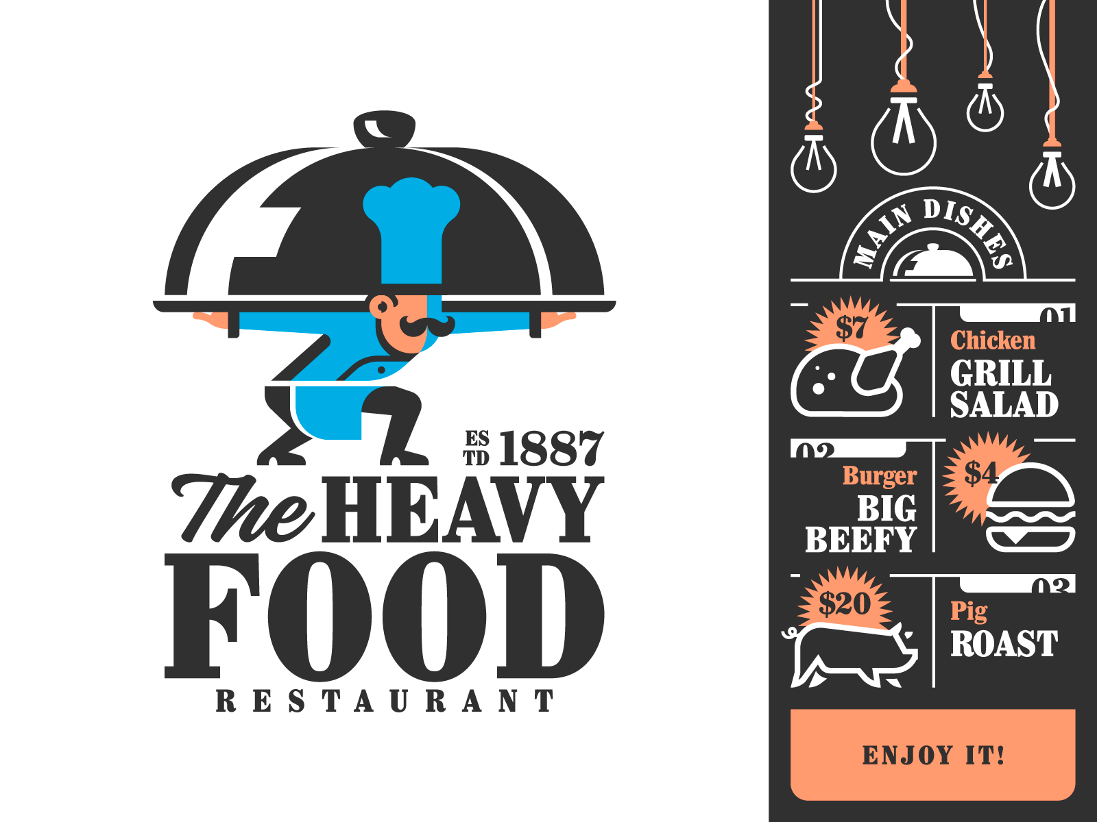Heavy Food texture design layout mark type typography identity food cook chef logo restaurant