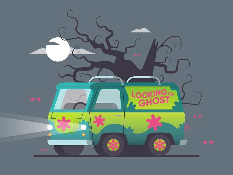 Mystery Machine 🎃 mystery machine zombie texture retro vector illustration horror ghost halloween scooby doo