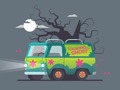 Mystery Machine 🎃 mystery machine zombie texture retro vector illustration horror ghost halloween scooby doo