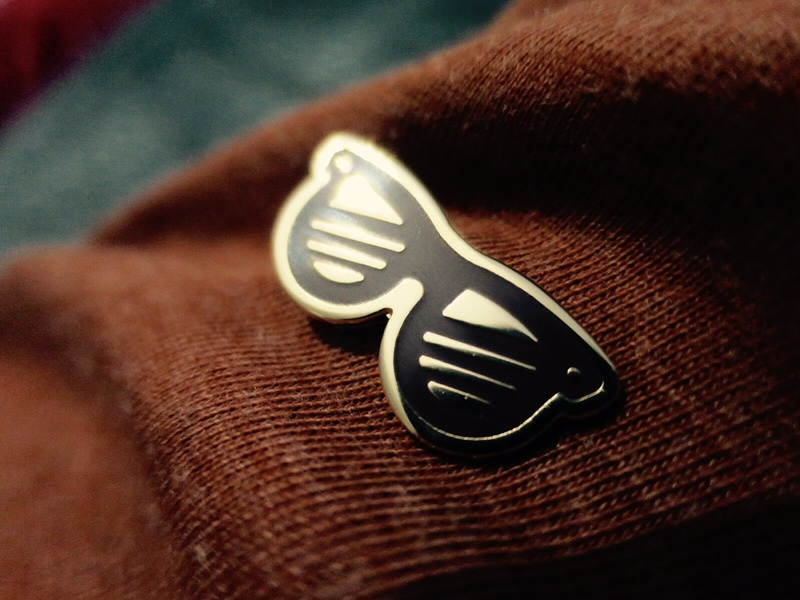 Glasses Pin 😎 enamel pin pin ray ban glasses brown illustration gold icon swag logo line art