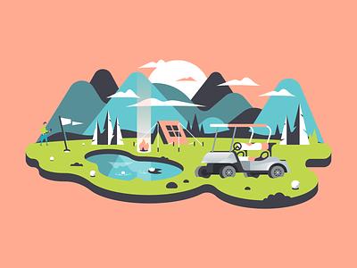 Camp Golf 🏕 design florest outdoors trekking camping camp nature tree mountain cart vector golf illustration