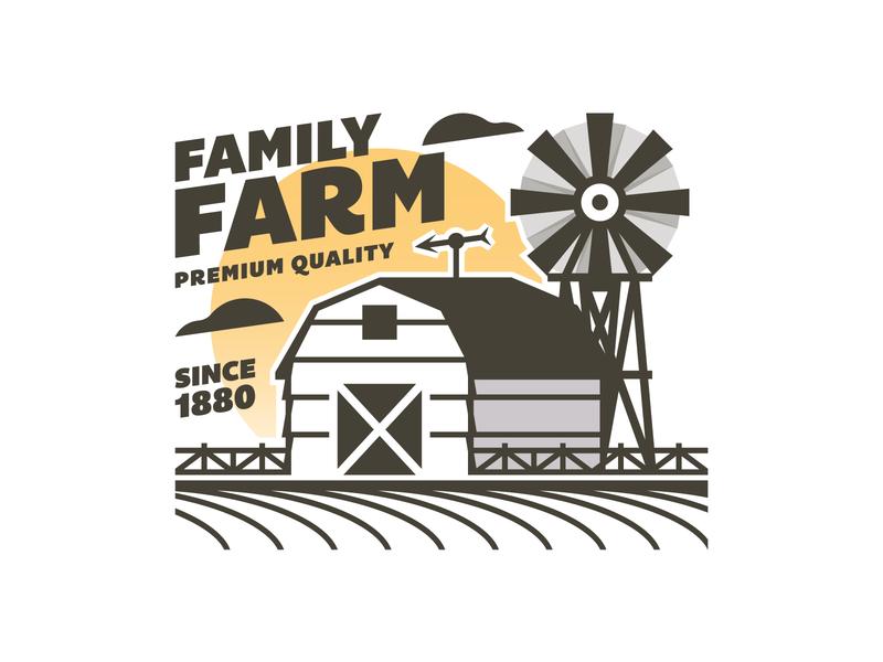 Family Farm ☀️ trademark vector typography type texture layout design illustration badge logo farm