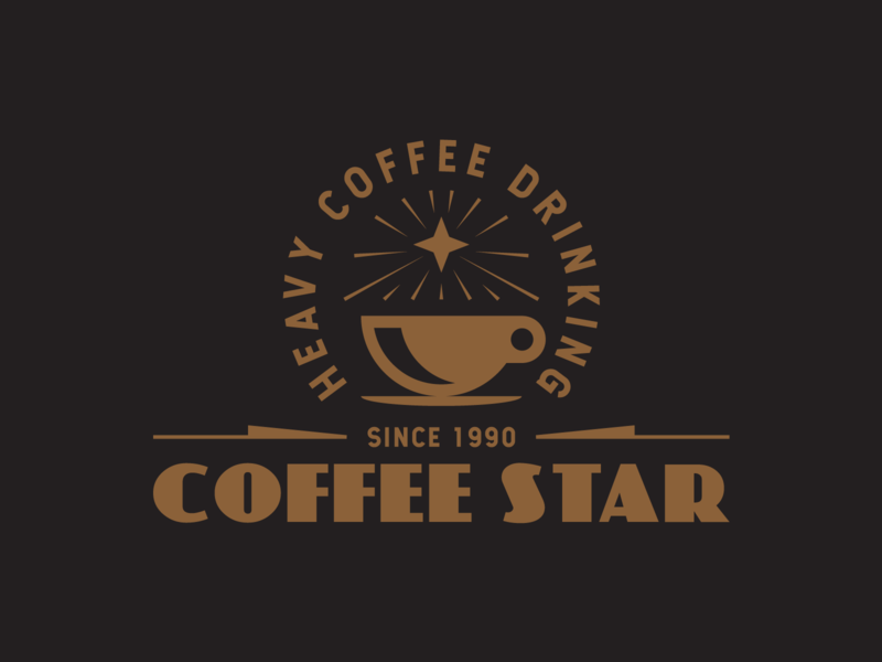 Coffee Star ☕️ black brown identity icon layout trademark typography type illstration logo star coffee