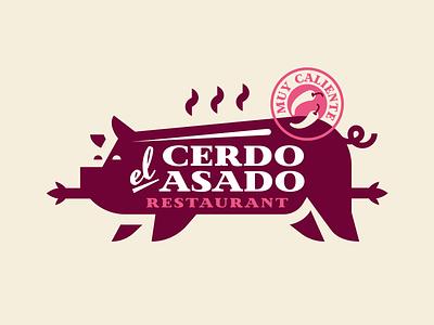el Cerdo Asado 🐖 typography texture symbol retro restaurant logo illustration identity pork pig badge