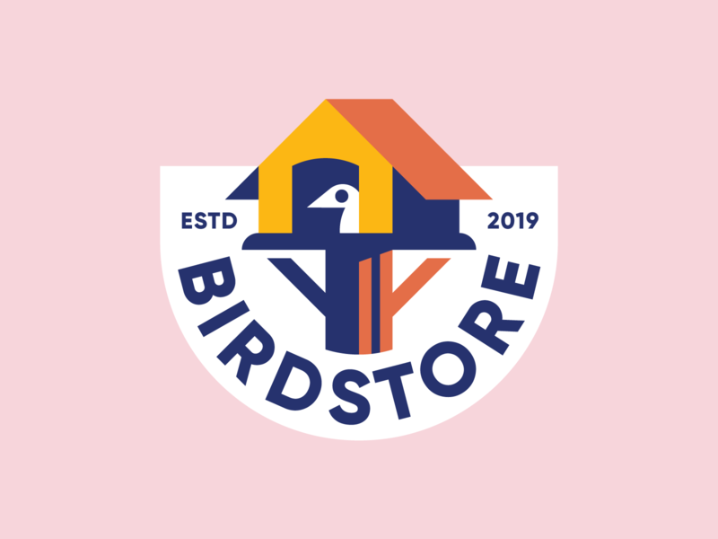 Birdstore 🐥 badge home house store color simple bird icon mark identity logo