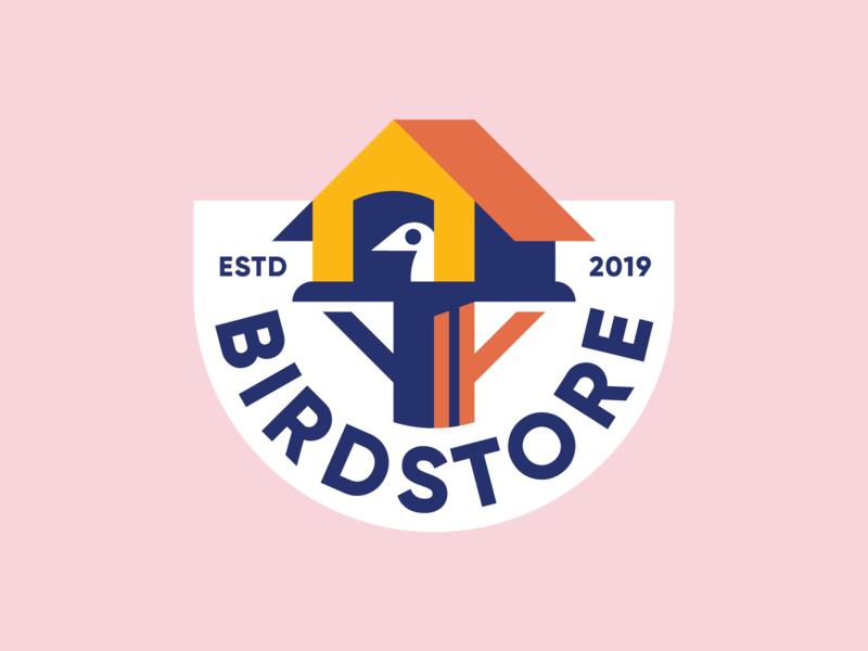 Birdstore 🐥 badge home house store color simple bird icon mark identity logo